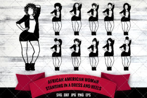 African American Sexy Woman in Short Skirt SVG - Black Woman