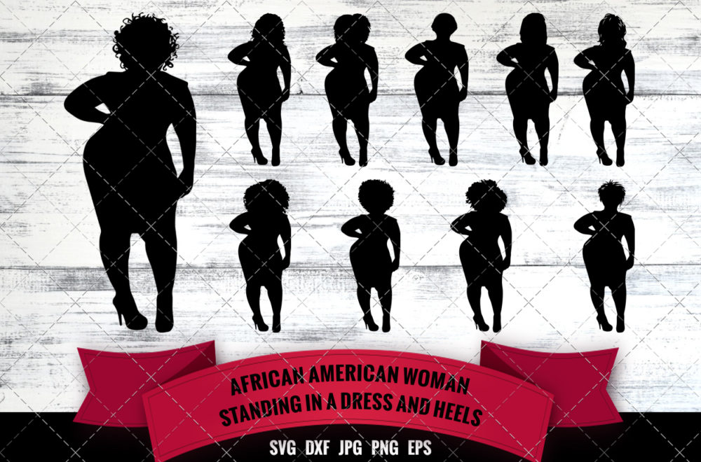 African American Woman Standing in Dress and Heels SVG - Black Woman