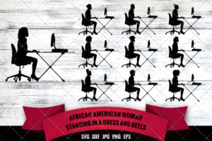 African American Woman on a Computer SVG - Black Business Woman
