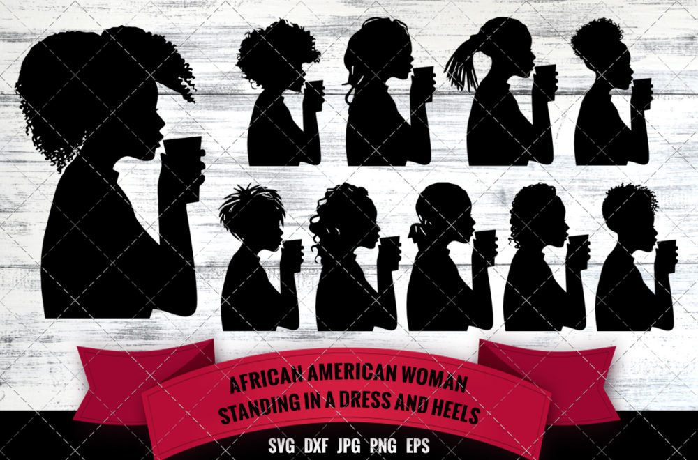 African American Woman Drinking Coffee SVG - Boss Lady