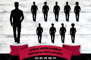 African American Man Standing SVG - Black Woman