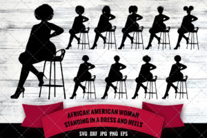 African American Woman Sitting on a Stool in Heels SVG - Black Woman