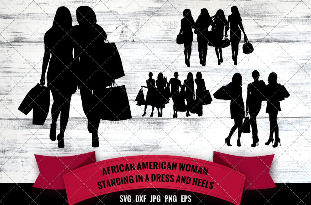 African American Woman Group Shopping SVG - Black Women Friends