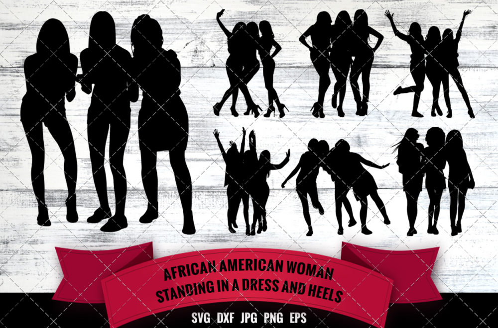 African American Woman Group Three Friends SVG - Black Woman
