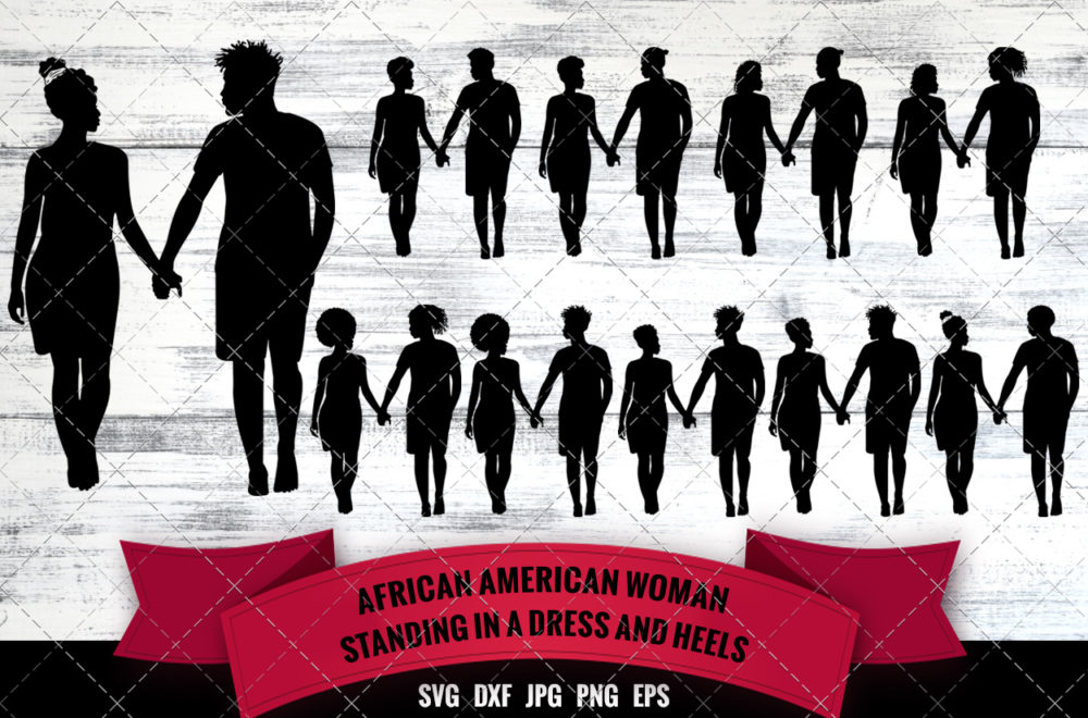 African American Couple Walking SVG - Black Couple