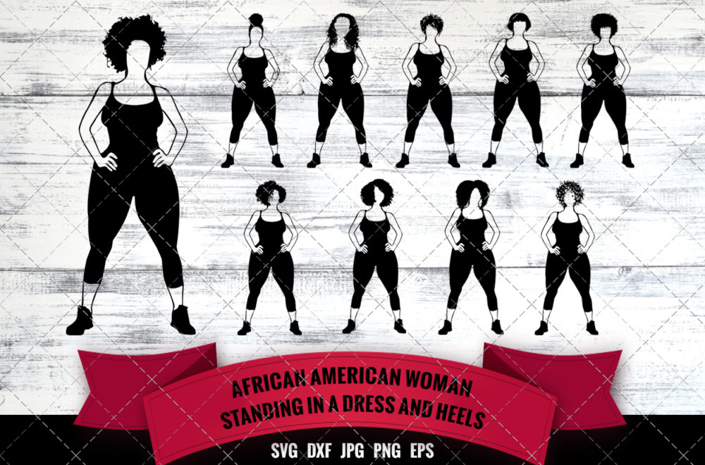 African American Woman in Gym Outfit