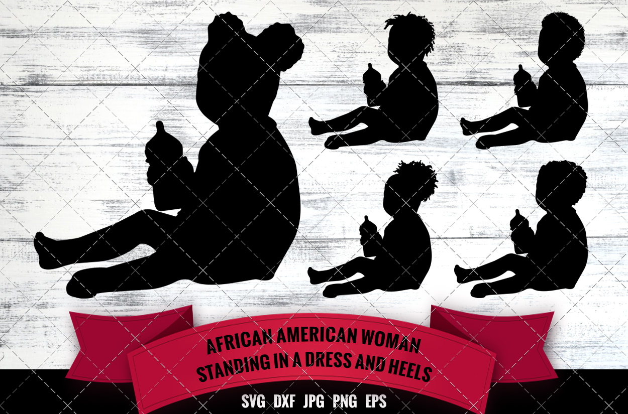 African American Baby With Bottle Svg Black Baby Boy Svg Afro Baby Girl Silhouette Cutting Files For Cricut Melanin Svg The Silhouette Queen