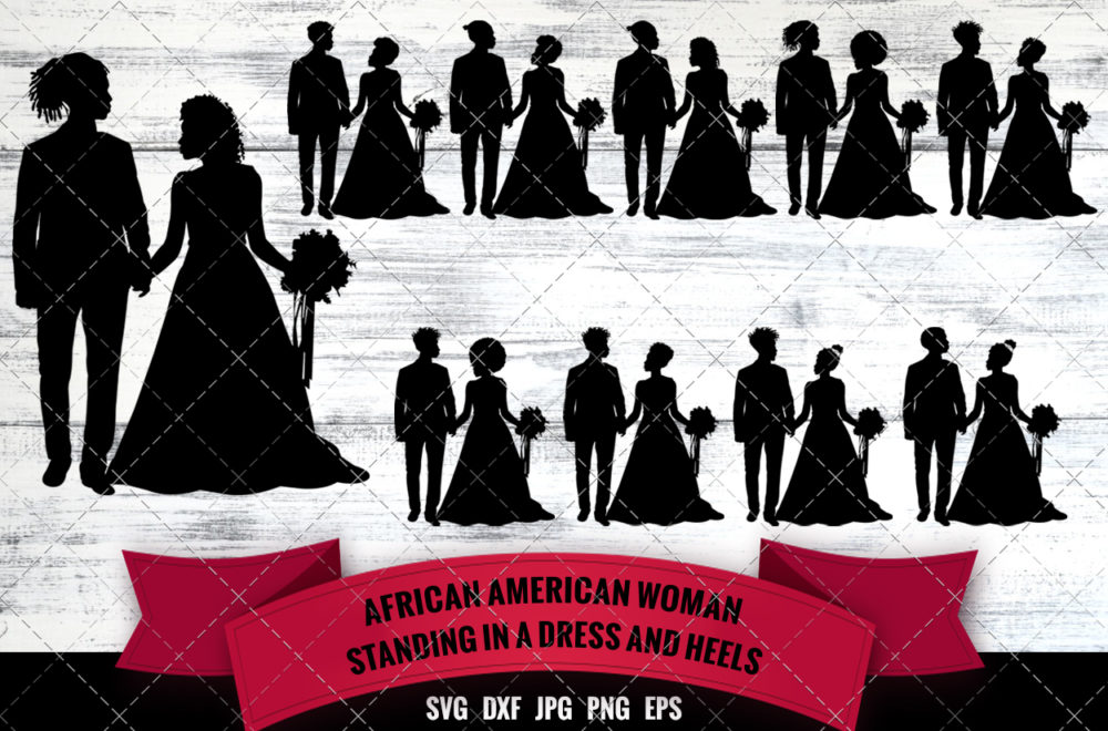African American Wedding Couple SVG - Black Couple Married