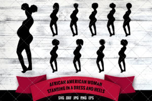African American Woman  Pregnant SVG
