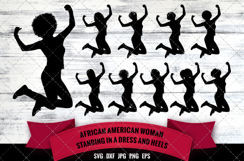 African American Woman Happy and Jumping SVG - Black Woman