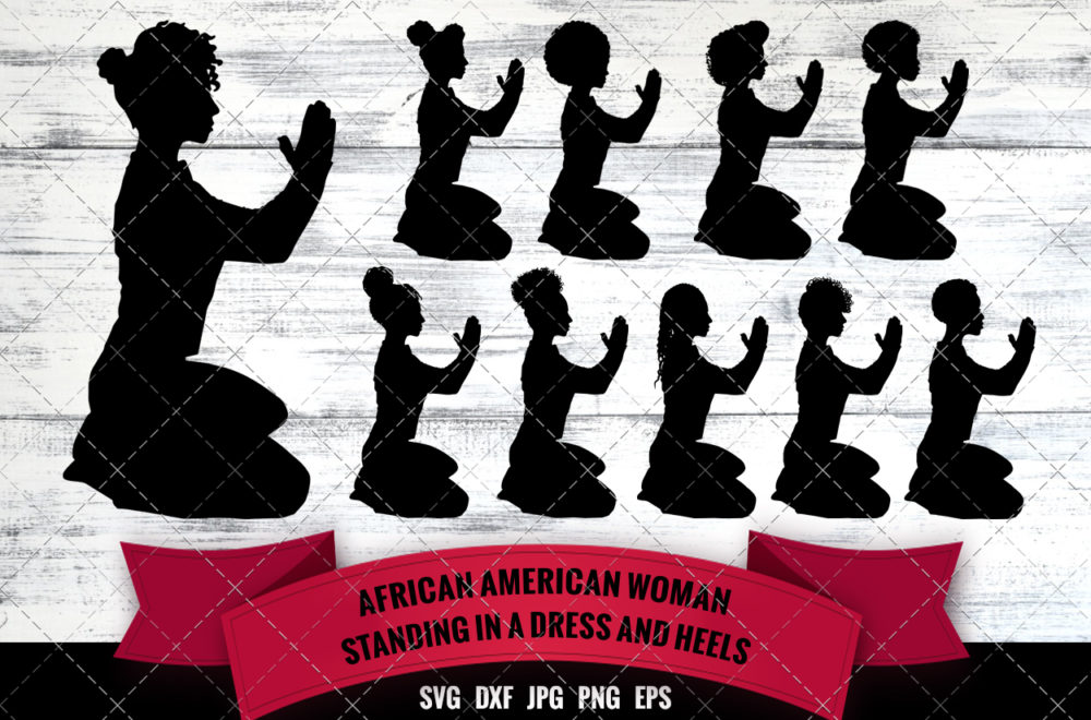 African American Woman Praying on Floor SVG - Black Woman