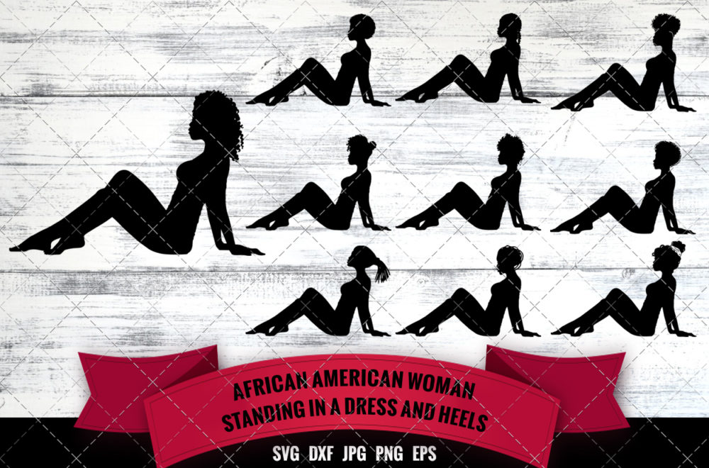 African American Woman Sexy - Sitting on Floor SVG - Black Woman