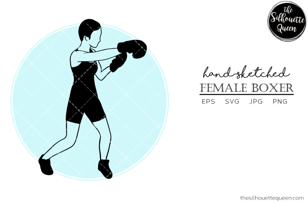 Hand drawn Female Boxer clipart clip art