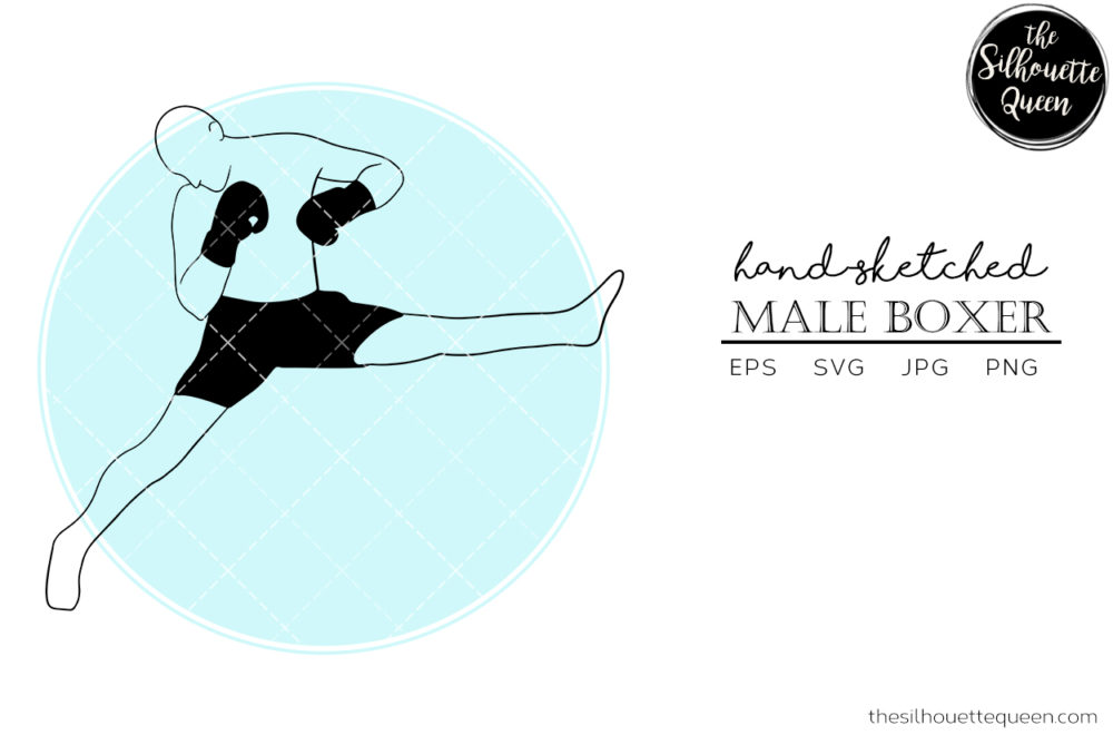 Hand drawn Male Boxer clipart clip art