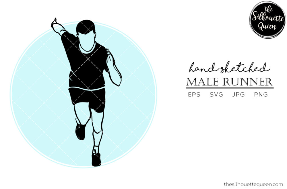 Hand drawn Male Runner Front clipart clip art