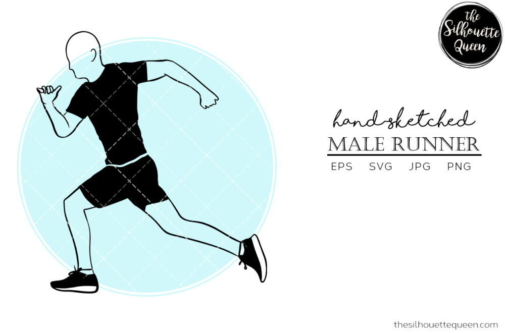 Hand drawn Male Runner Side clipart clip art