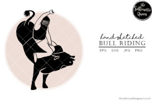 Hand drawn Bull Riding  Vector Sketch
