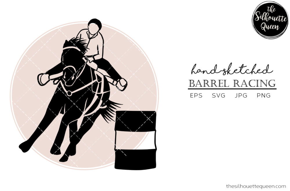Hand drawn Turn and Burn Barrel Racing  Vector Sketch
