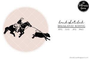 Hand drawn Breakaway Roping  Vector Sketch