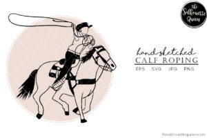 Hand drawn Calf Roping  Vector Sketch