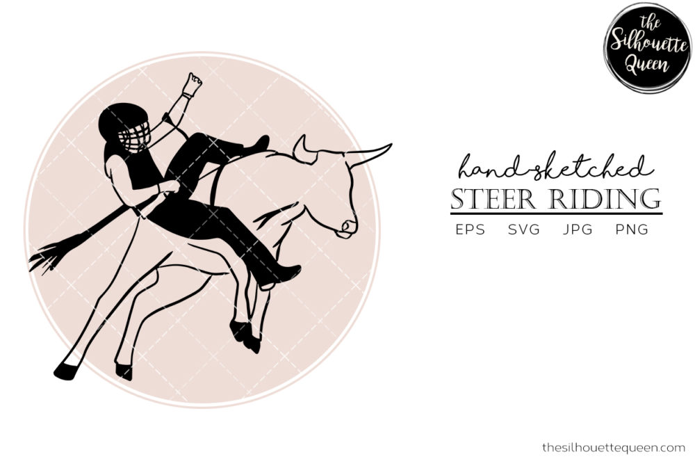 Hand drawn Steer Riding  Vector Sketch