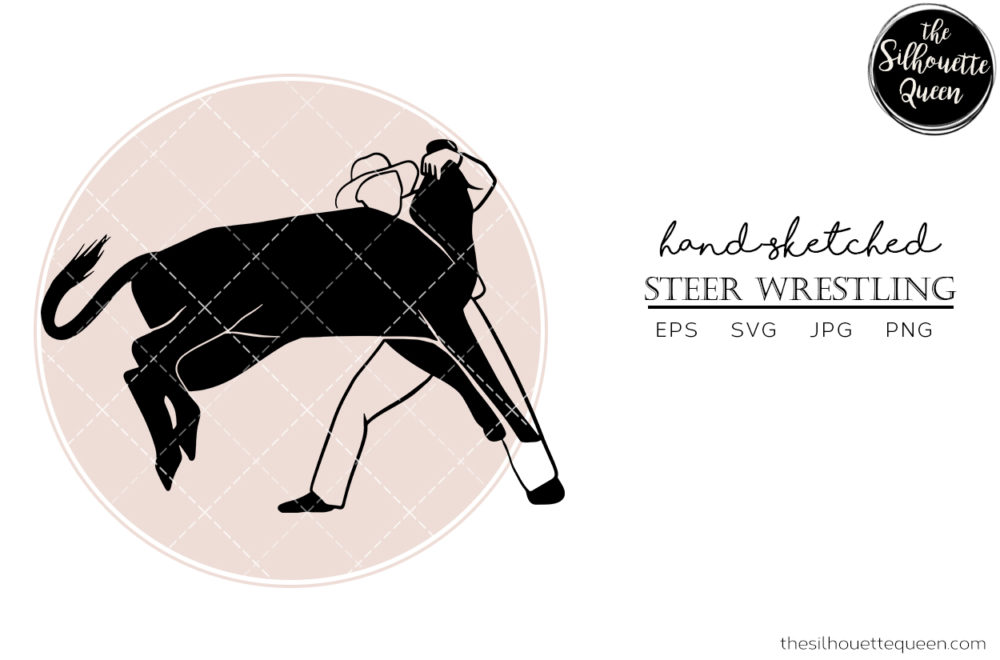 Hand drawn Steer Wrestling  Vector Sketch