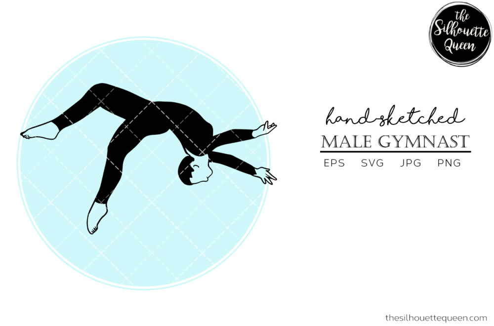 Hand drawn Male Gymnast clipart clip art