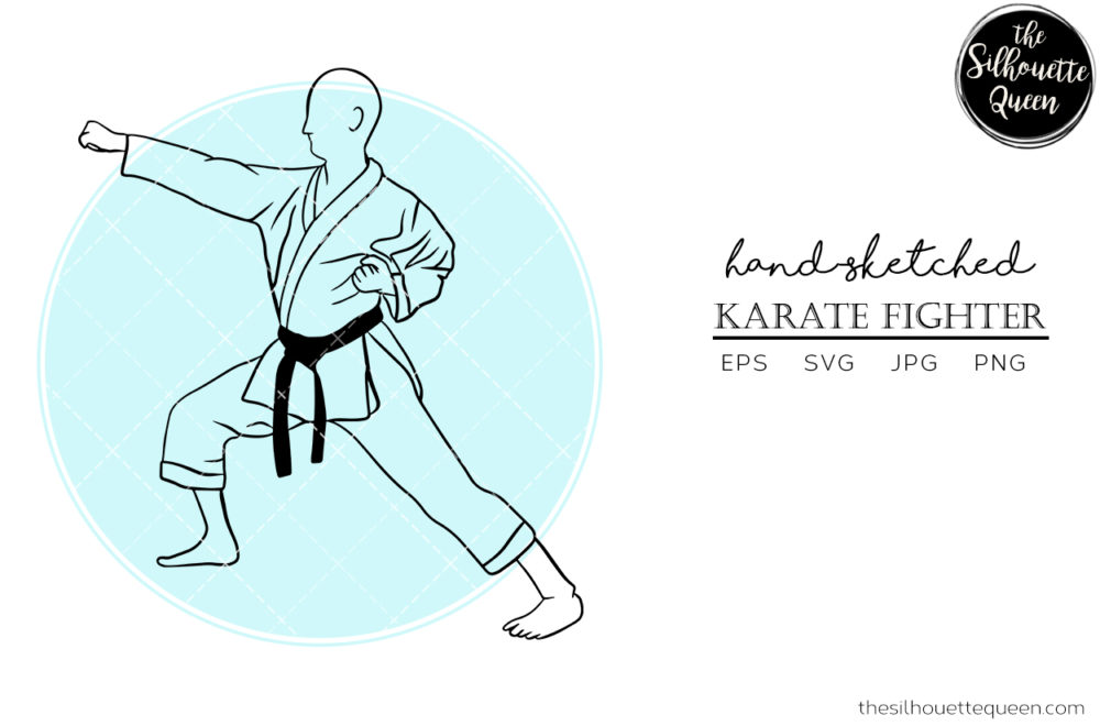 Hand drawn Male Karate Fighter clipart clip art