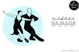 Hand drawn Couple Ice Skater clipart clip art