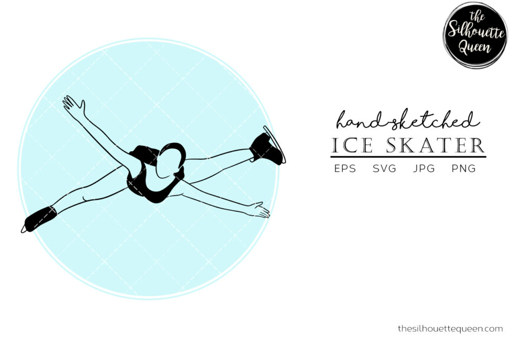 Hand drawn Female Ice Skater clipart clip art
