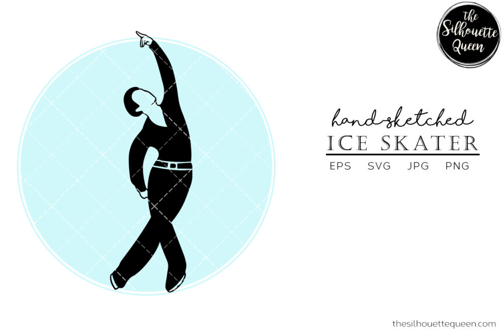 Hand drawn Male Ice Skater clipart clip art