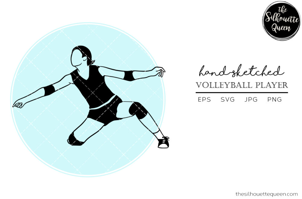 Hand drawn Female Volleyball Player clipart clip art