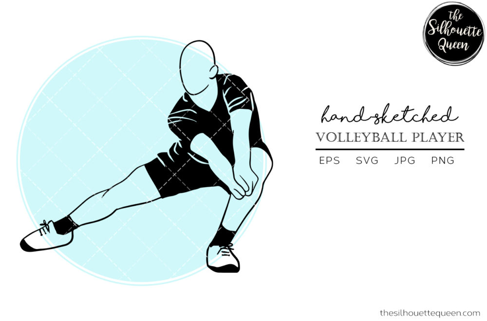 Hand drawn Male Volleyball Player clipart clip art