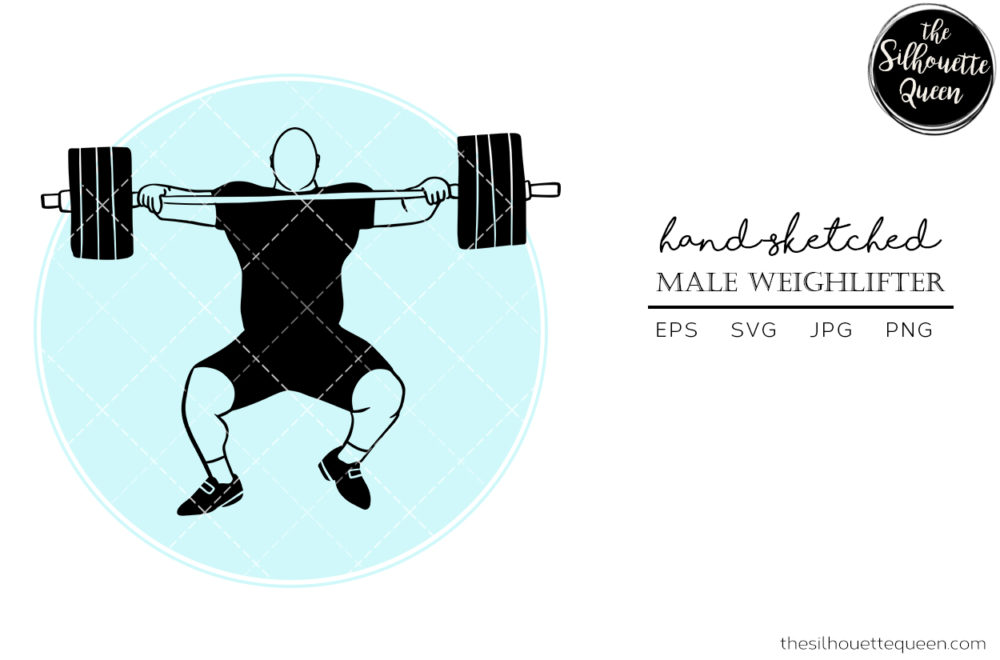 Hand drawn Male Weightlifter clipart clip art