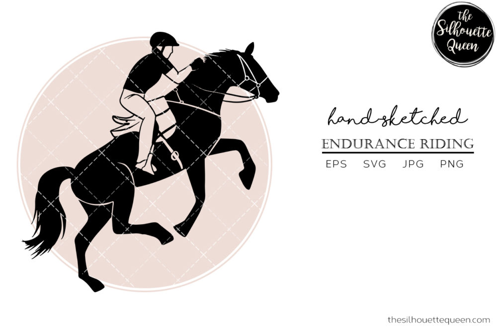 Hand drawn Horse sports Endurance Riding  Vector Sketch