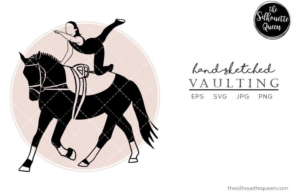 Hand drawn Horse sports Vaulting  Vector Sketch