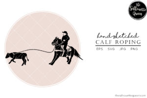 Hand drawn Rodeo Calf Roping  Vector Sketch