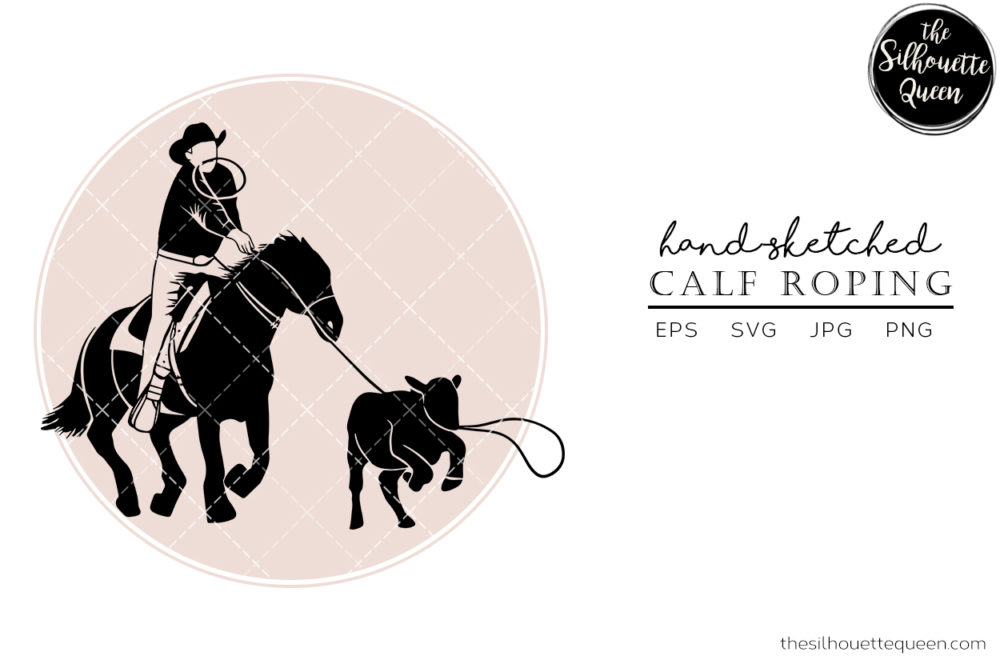 Hand drawn Rodeo Calf Roping 2  Vector Sketch