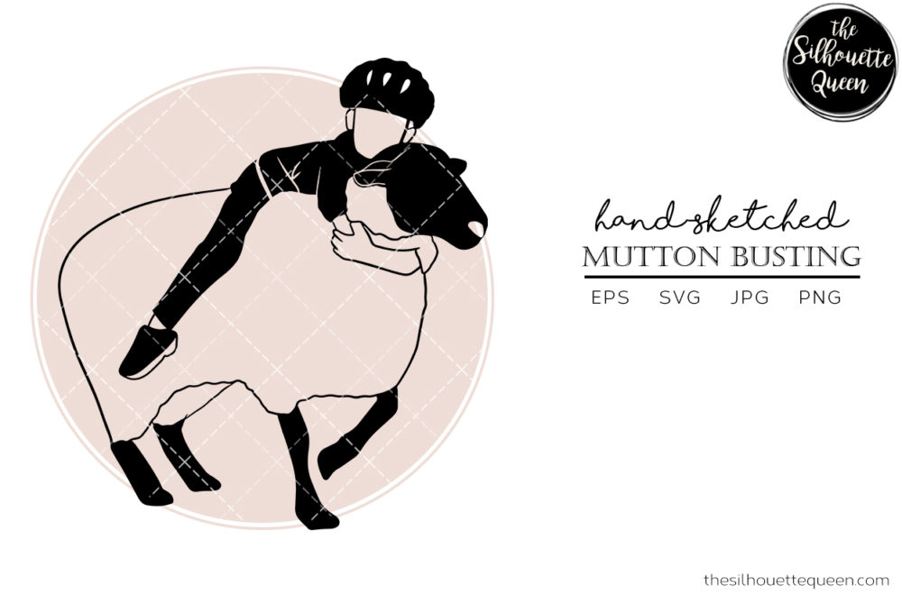 Hand drawn Rodeo Mutton Busting  Vector Sketch