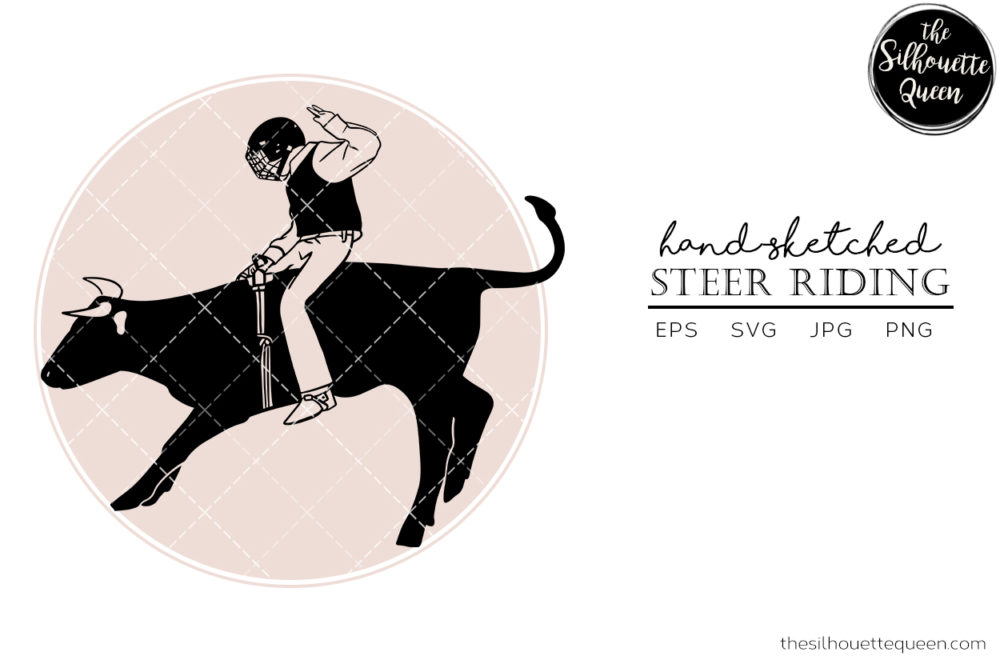 Hand drawn Rodeo Steer Riding  Vector Sketch