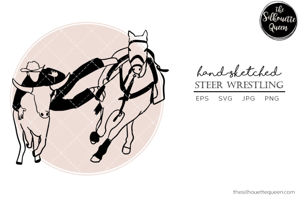 Hand drawn Rodeo Steer Wrestling  Vector Sketch