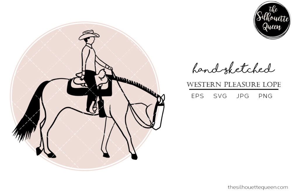 Hand drawn western pleasure Lope  Vector Sketch