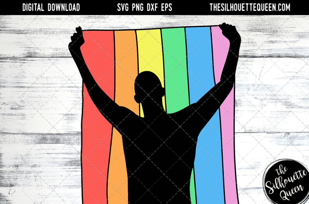 Hand Sketched Man Holding Rainbow Flag  Gay Pride
