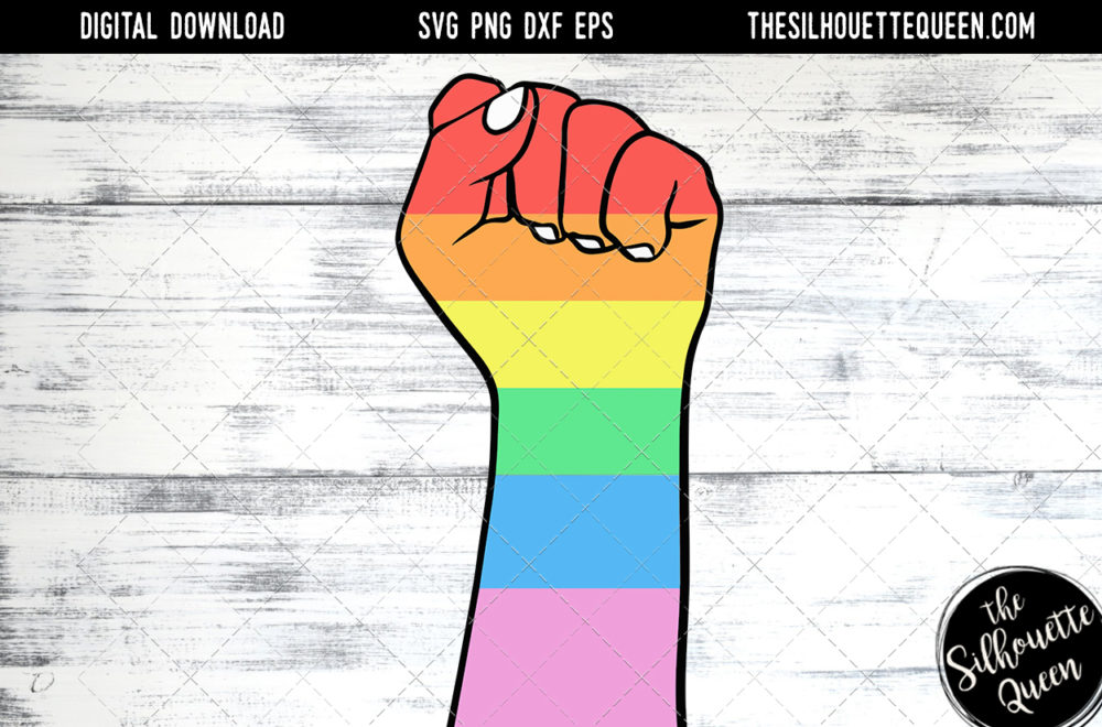 Hand Sketched Closed Fist in Rainbow Colors Gay Pride