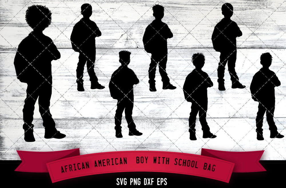 African American Boy with School Bag  SVG - Black Boy with Bag