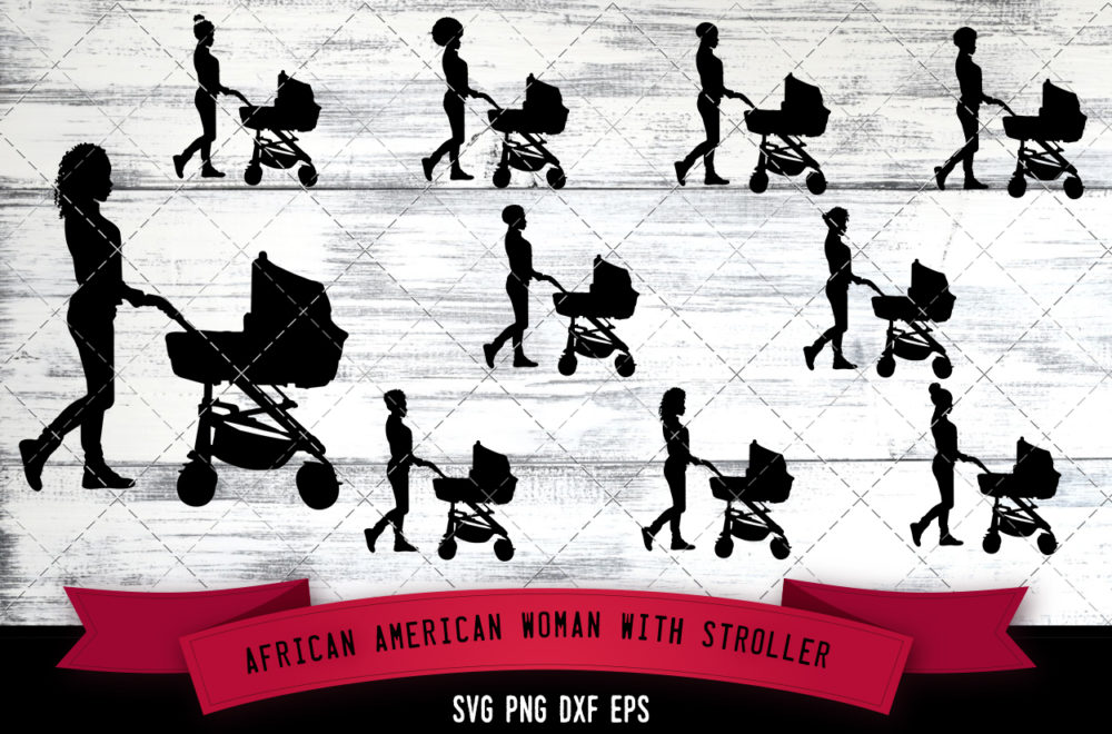 African American Woman with Stroller  SVG - Black Lady with Baby