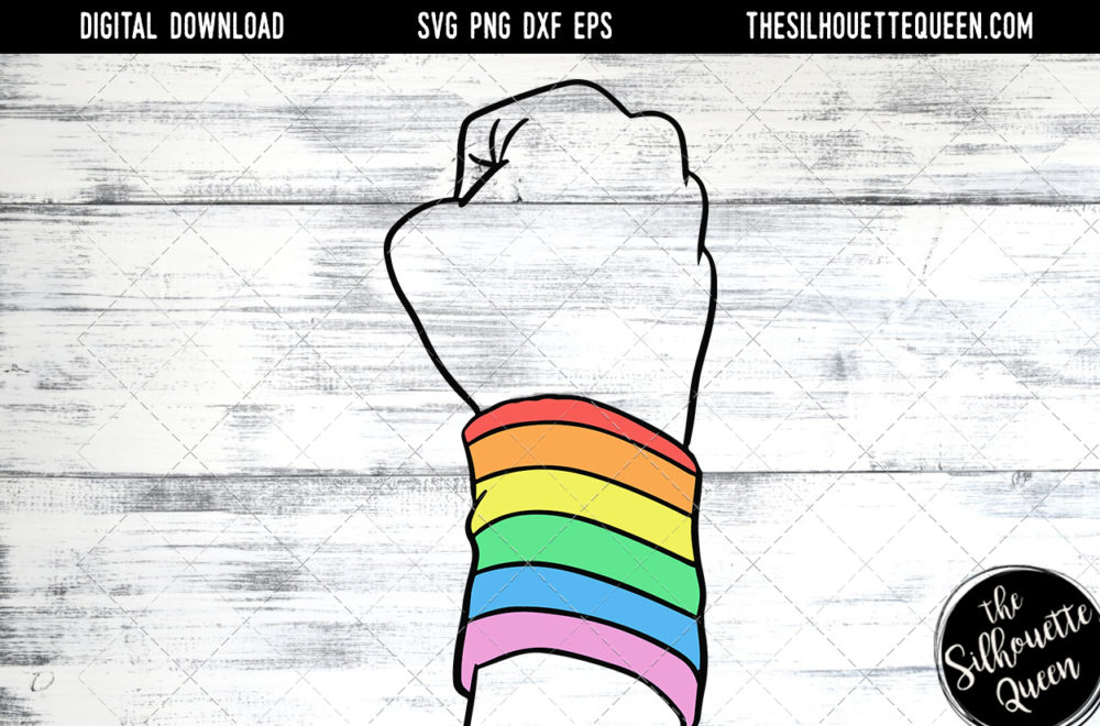 Hand Sketched  Closed Fist with Rainbow Band Gay Pride