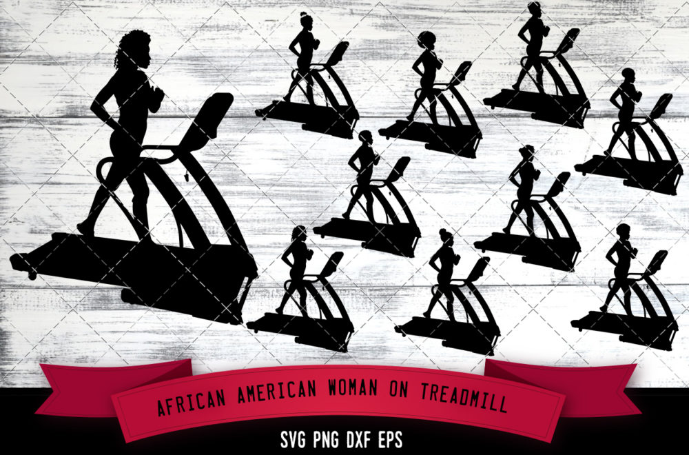 African American Woman on Treadmill  SVG - Black Fit Woman Exercising