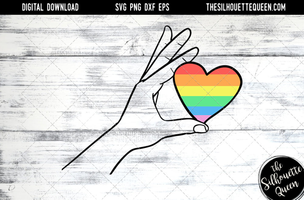 Hand Sketched hand holding rainbow heart Gay Pride