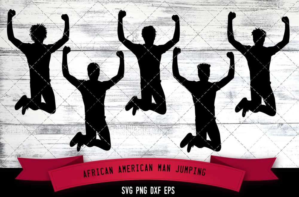African American Man Jumping  SVG - Black Man Happy